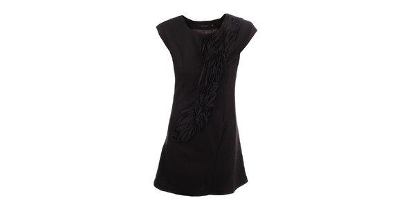 Dámske tmavo hnedé šaty s dekoratívnou aplikáciou Dislay DY Design