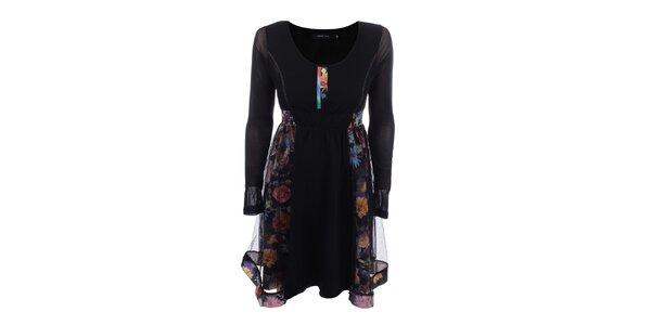 Dámske čierne šaty s farebnými kvetinami Dislay DY Design