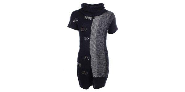 Dámske šedo-čierne šaty s flitrami Dislay DY Design
