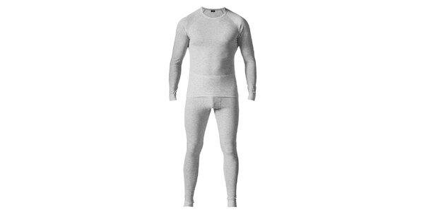 Pánsky svetlo šedý set spodnej bielizne - tričko a nohavice Bergson