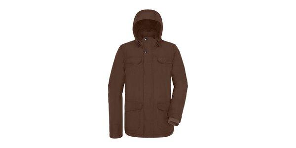 Pánska dlhšia hnedá bunda s kapucňou Maier