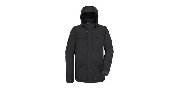 Pánska dlhšia čierna bunda s kapucňou Maier