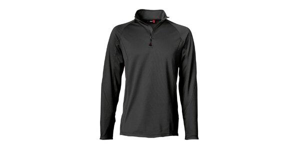 Pánske čierne lyžiarske tričko s dlhým rukávom Maier