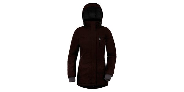 Dámsky tmavo hnedý kabát s kapucňou a náprsným vreckom Maier
