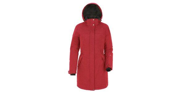Dámsky červený kabát s kapucňou Maier