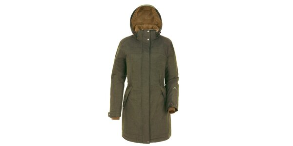 Dámsky khaki kabát s kapucňou Maier
