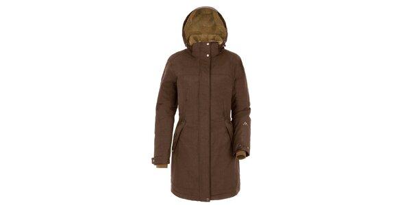 Dámsky hnedý kabát s kapucňou Maier