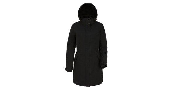 Dámsky čierny kabát s kapucňou Maier