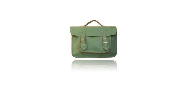 Dámska mätovo zelená aktovka London Fashion s hnedým lemom