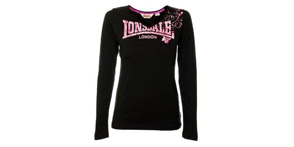 Dámske čierne tričko s dlhým rukávom Lonsdale s ružovou potlačou