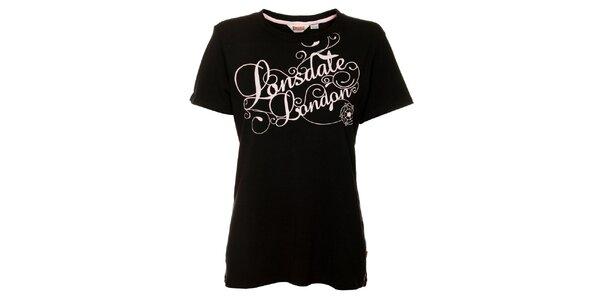 Dámske čierne tričko s krátkým rukávom Lonsdale s ružovou potlačou