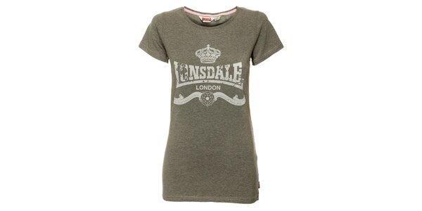 Dámske šedé tričko Lonsdale s bielou potlačou
