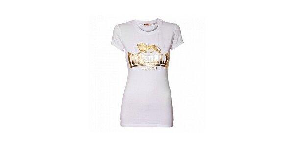Dámske biele tričko Lonsdale so zlatou potlačou