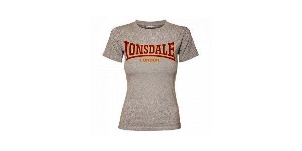 Dámske šedé melírované tričko Lonsdale so semišovou potlačou