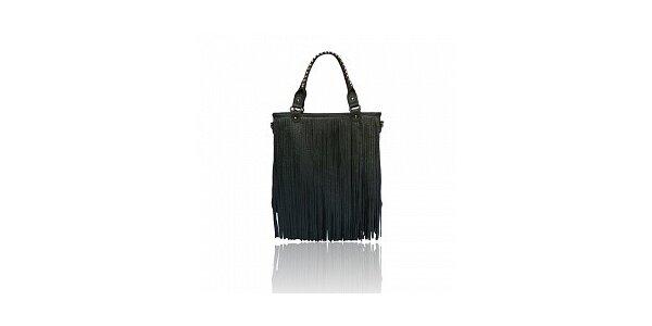 Dámska tmavo šedá kabelka London Fashion so strapcami