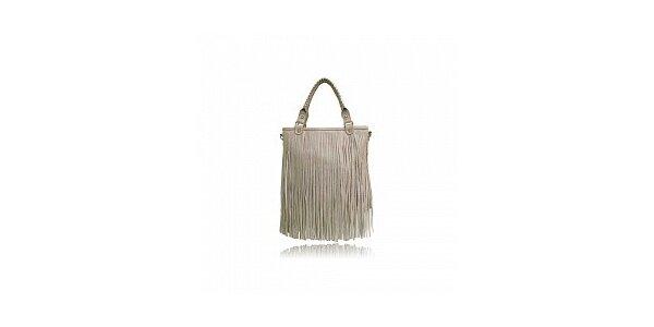 Dámska béžová kabelka London Fashion so strapcami