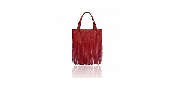 Dámska červená kabelka London Fashion so strapcami
