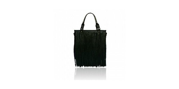 Dámska čierna kabelka London Fashion so strapcami
