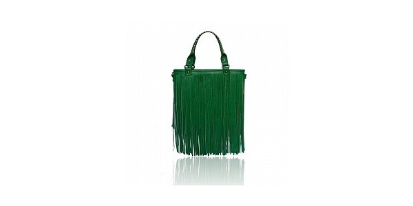 Dámska zelená kabelka London Fashion so strapcami