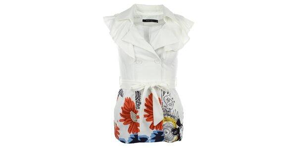 Dámska biela vesta s volánikmi Dislay DY Design