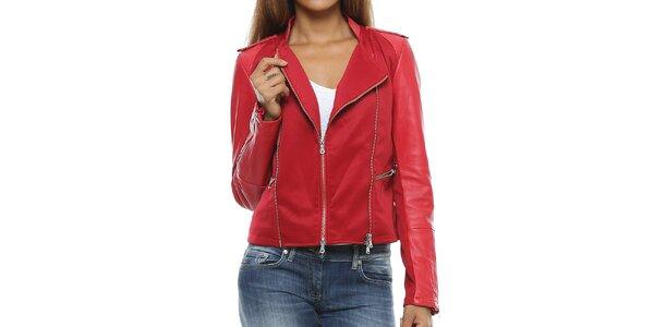 Dámska červená bunda s koženými rukávmi Mangotti