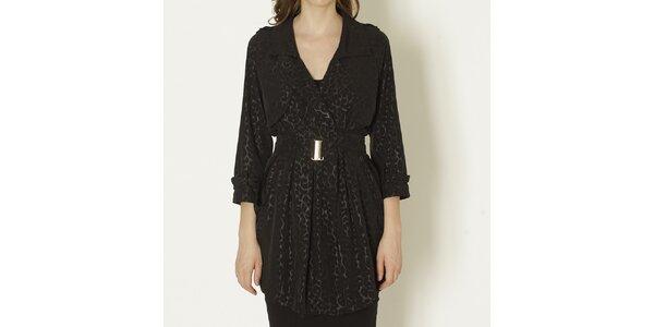 Dámsky čierny kabát s leopardím vzorom a opaskom Keren Taylor