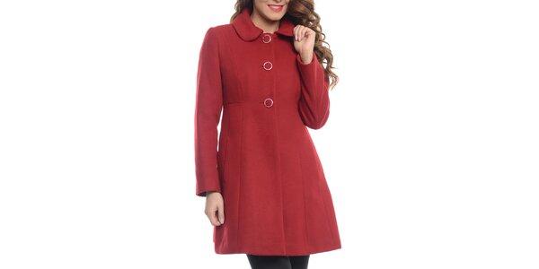 Dámsky červený kabát s límčekom Vera Ravenna