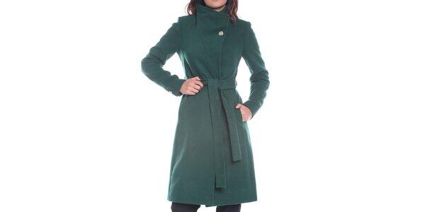 Dámsky tmavo zelený kabát s opaskom Vera Ravenna 956848e16fd