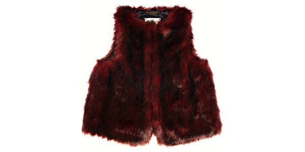 Detská tmavo červená kožušinová vesta Pepe Jeans
