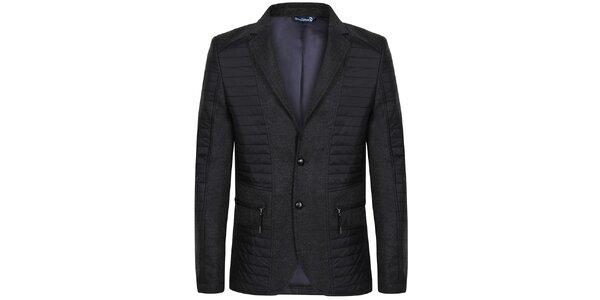 Pánska čierna bunda s gombíkmi Giorgio Di Mare