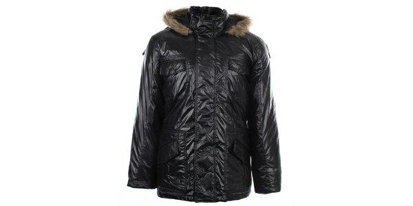 Pánska čierna bunda s kožúškom Big Star