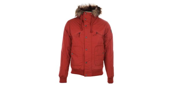 Pánska červená zimná bunda s kožúškom Timeout