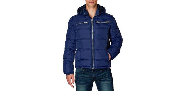 Pánska modrá prešívaná bunda s kapucňou Paul Stragas