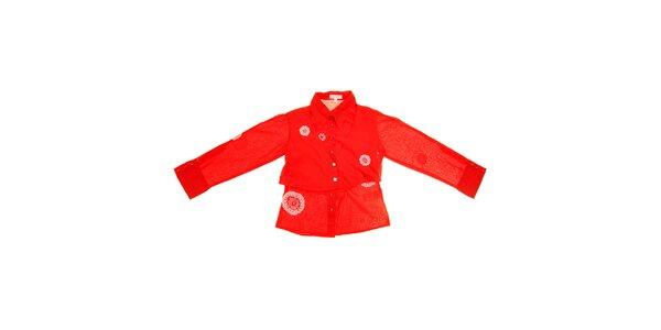 Detská červená košeľa s bielou výšivkou Peace&Love