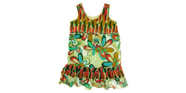 Detské zeleno-červené šaty s kvetinovou potlačou Peace&Love