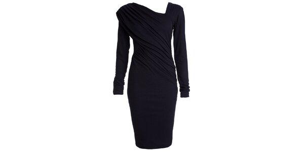 Dámske tmavo modré nariasené šaty s dlhým rukávom CeMe London