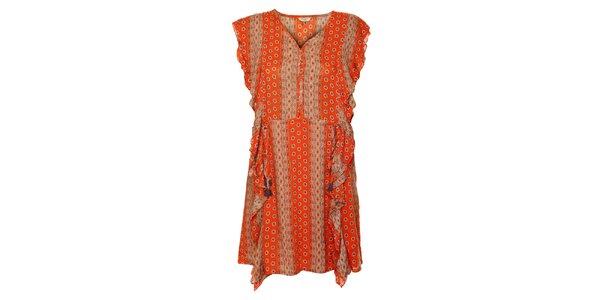 Dámske oranžové šaty Guess s ornamentmi