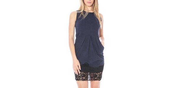 Dámske modré šaty s čipkovaným lemom Nancy N. c8b877bb024