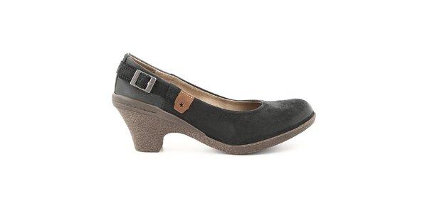 Dámske čierne kožené lodičky s prackou Cubanas Shoes 07ba6d46ab2
