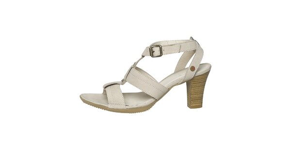 Dámske biele kožené sandále s čiernym lemovaním Buggy