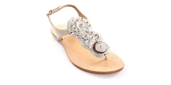 Dámske béžové kožené sandále Coral Blue