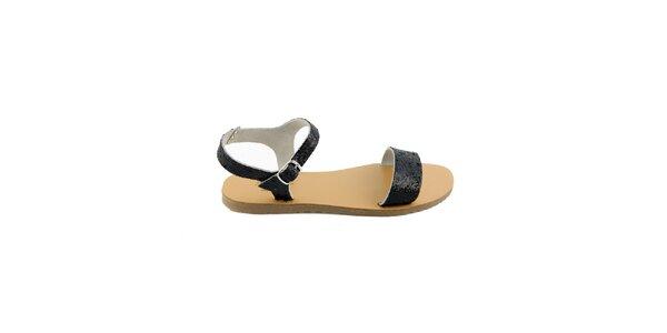 9892cf0b5e97 Dámske čierne kožené sandále Pelledoca s trblietkami