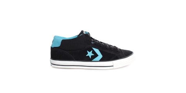 Čierne tenisky s modrými detailmi Converse