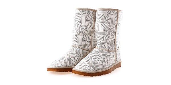 Dámske biele topánky s potlačou notovej osnovy Elite Goby