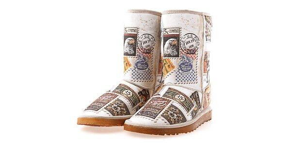 0d4a4c117617 Dámske biele topánky s potlačou známok Elite Goby