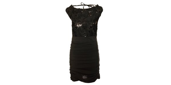 Dámske čierne šaty Lucy Paris s flitrami a ružičkami