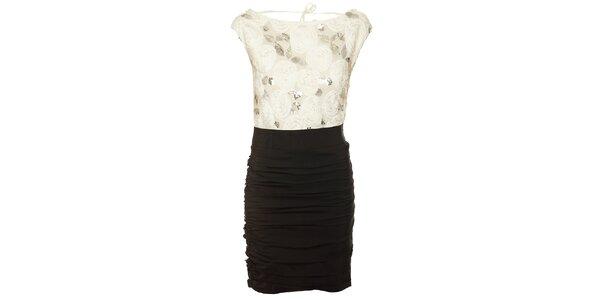 Dámske čierno-biele šaty Lucy Paris s flitrami a ružičkami