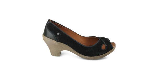 Dámske čierne perforované topánky Cubanas Shoes