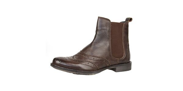 Dámske hnedé kožené topánky s ozdobným perforovaním Bullboxer