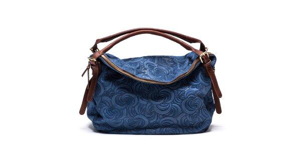 Dámska vzorovaná kožená kabelka v modrej farbe Mangotti